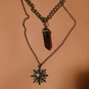 Stone and sun necklace